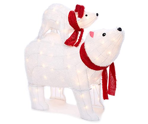 Mama & Cub Polar Bear Display Sculpture Outdoor Christmas Yard Art Lawn Decoration Seasonal Display by holiday decorations