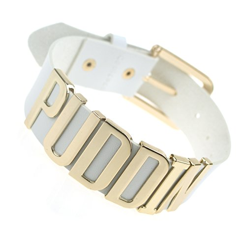 Coolcoco Adjustable High Neck White Belt Gold Puddin Choker Necklace Collar for Women and Girls Kids (About 1.2 Inches Width)