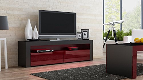 Concept Muebles Milano Collection Wooden Stand For TV Up To 70-Inch with Led Lighting and High Gloss Finish, Black and Burgundy (Milano Collection Storage)