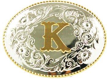 Men or Women's Two-tone K Initial Oval Metal Belt Buckle. 4