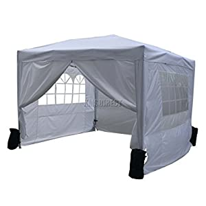 FoxHunter Waterproof 3m X Pop Up Gazebo Marquee Garden Awning Party Tent Canopy 260g Polyester Powder Coated Steel Frame 4 Weight Bags White