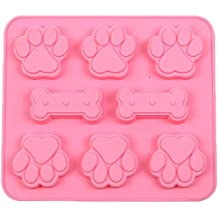 JLHua 2 Pack Food Grade Large Mats Trays, Puppy Pets Dog Paws & Bones Silicone Baking Molds, Bake Dog Treats For Pets, Kids, Dog-lovers, Kitchen Tips