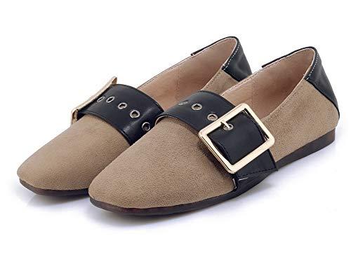 Ballet Chiusa Pelle Tacco Flats di Donna FBUIDD008367 Beige AllhqFashion Punta Basso Mucca a186nxqZ