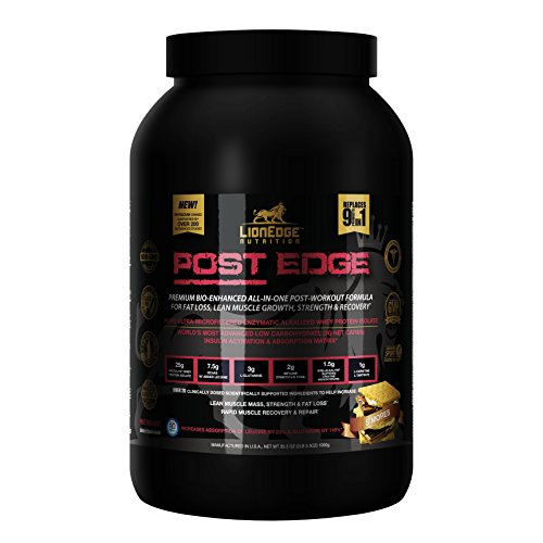 Post Edge, Physician Formulated 9-IN-1 Premium Post Workout Powder - Whey Protein Isolate, BCAA, Kre-Alkalyn, Glutamine, Betaine and more (S'mores) 20 Servings 50g, by LionEdge Nutrition - Edge Protein
