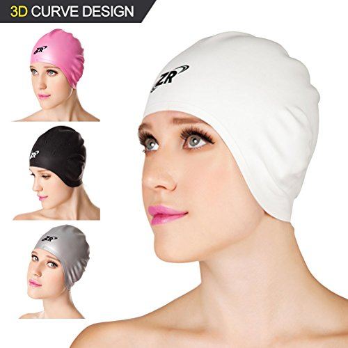 Silicone Swim Caps, ZIONOR Premium 3D Designed Latex-free Wrinkle-free Waterproof One Size Comfortable Easy Fit Elastic Short Curly Thick Long Hair Swimming Caps with Ear Cups for Adult Men and Women