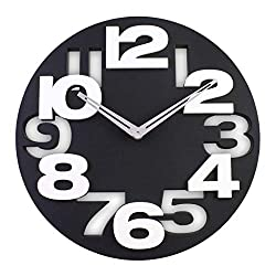 Jueven 3D Big Digit Modern Contemporary Home Decor Round Wall Clock (Color : Black)