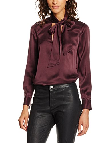 Stefanel Camicia Satin Unito, Camisa para Mujer Rojo (rosso0485)