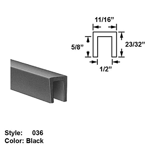 EPDM Rubber U-Channel Push-On Trim, Style 036 - Ht. 23/32'' x Wd. 11/16'' - Black - 10 ft long by Gordon Glass Co.