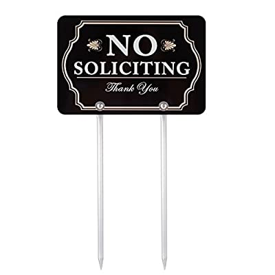 """Kichwit No Soliciting Sign for Yard, Aluminum, All Metal Construction, Sign Measures 11.8"""" x 7.9"""", 14"""" Long Metal Stakes Included"""