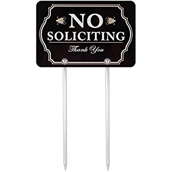 Kichwit No Soliciting Sign for Yard, Aluminum, All Metal Construction, Sign Measures 11.8