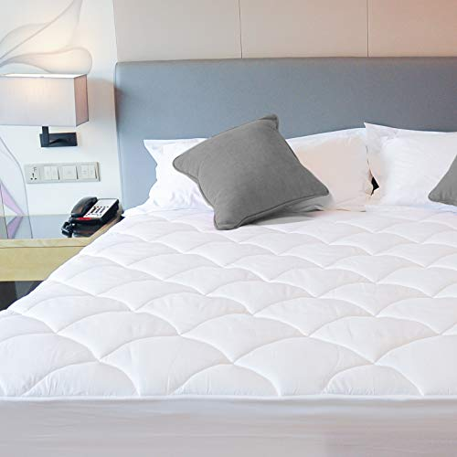 COMHO Cotton Top Bed Mattress Pad Cover (Queen)-Pillowtop Cooling Mattress Topper with Stretch Fitted Skirt (8''-16''Deep Pocket) ()