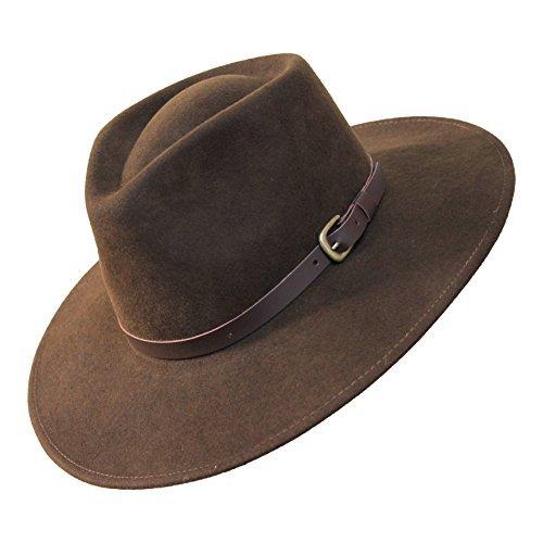 (B&S Premium Lewis - Wide Brim Fedora Hat - 100% Wool Felt - Water Resistant - Leather Band - Dark Brown)