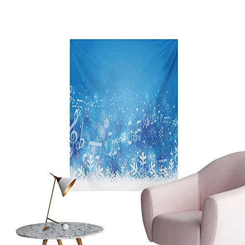 Anzhutwelve Winter Mural Decoration Music Inspired Winter Imagery Notes and Snowflakes Illustration Seasonal ImageBlue White Lilac W24 xL36 Wall Poster (Red Hot Chili Peppers Snow Guitar Notes)