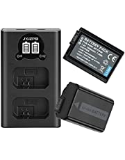 JYJZPB 2 Packs NP-FW50 Batteries and Charger Set for Sony A6000, A6500, A6300, A7, for Sony A7II Battery, A7RII, A7SII, A7S, A7S2, A7R, A7R2, A55, A5100, RX10 Camera
