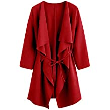 TIFENNY Loose Fashion Cardigan for Women Casual Waterfall Collar Pocket Front Wrap Coat Jacket Outwear