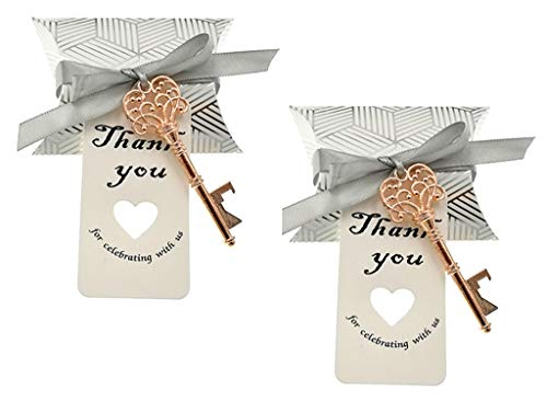 50pcs Skeleton Key Bottle Opener Wedding Party Favor Souvenir Gift with Candy Box Escort Tag and Ribbon(Rose Gold Tone)
