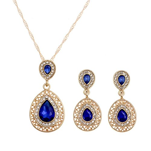 (Deals,Noopvan PVintage Wedding Crystal Chain Bohemian Jewelry Set Earrings Romantic Gift Crystal Jewelry)