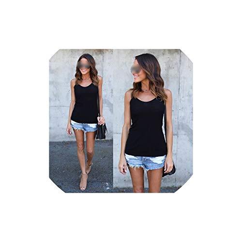 (shine-shine Tank top Casual Camisoles Tops T-Shirt Spaghetti Strap Loose Vest,Black,L)