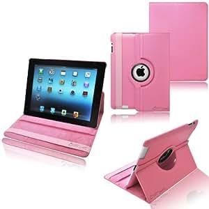 Ionic Rotating Stand Leather Case with SLEEP AND WAKE Function For Apple iPad 2, iPad 3, iPad 4, iPad 2nd, iPad 3rd, iPad 4th Generation Tablet AT&T Verizon 4G LTE (Pink)