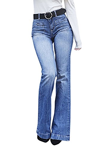 CNJFJ Women's Bell Bottom Jeans High Waist Denim Wide Leg Full Length - Blue Denim Bootcut Jeans