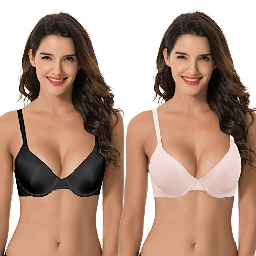 - Curve Muse Womens Plus Size Full Coverage Padded Underwire Bra-2PK-BLACK,PINK-40C