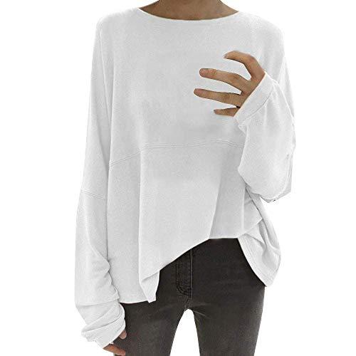 encolure du Blanc Cn cou manches shirt pour ras T Zhrui Blanc femme et couleur Taille chauve à souris Xluk 22 pqwtcB