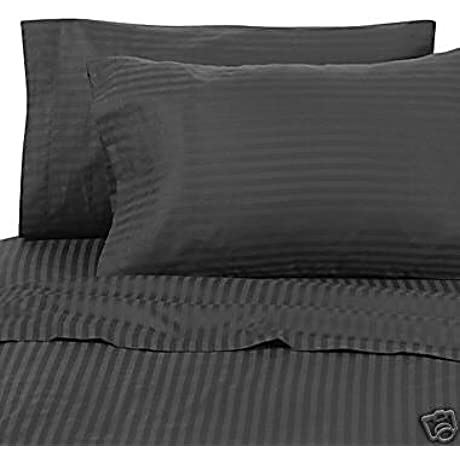 Egyptian Bedding 1200 Thread Count California King Siberian Goose Down Comforter 8 PC Bed In A Bag Black Damask Stripe