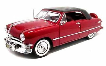 Maisto 1950 Ford Convertible, Red 31681 - 1/18 Scale Diecast Model Toy Car
