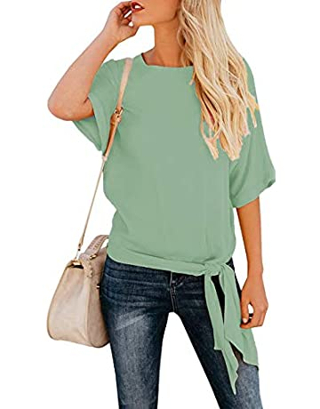 e64c0bdf9814 OURS Women's Casual Knot Tie Front Half Sleeve Summer T Shirt Blouses Tops