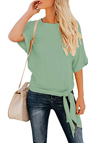 (OURS Women's Casual Knot Tie Front Half Sleeve Summer T Shirt Blouses Tops (Mint Green, XXL))