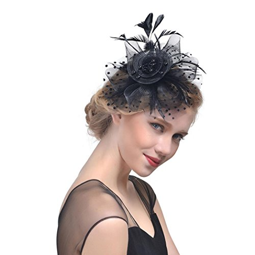 Challyhope Clearance! Fascinators Hat Flower Mesh Ribbons Feathers Headband Forked Clip Wedding Cocktail Tea Party Hat Headwear for Womens Girls (Black I)
