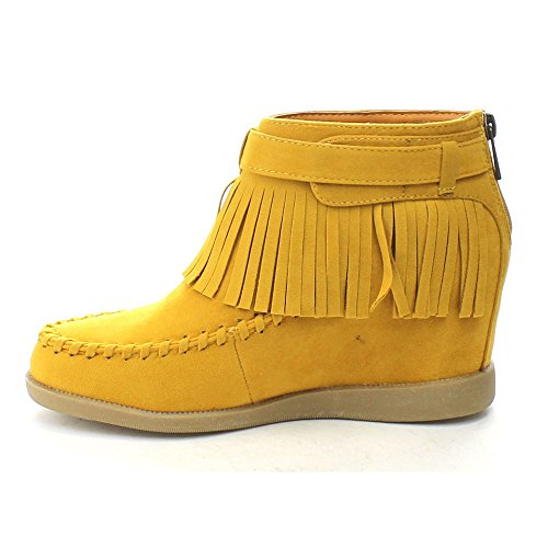 Zipper Womens Back Ankle 03 TOBERY BAMBOO Booties Moccasin Fringe Hidden Wedge Mustard SE8Rzq