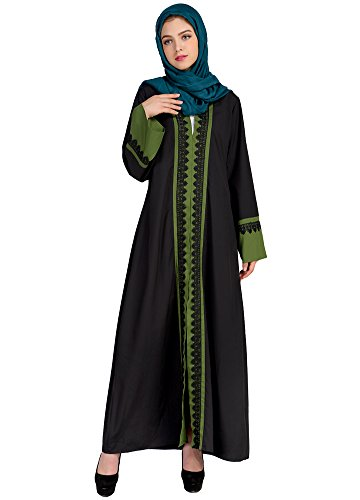 Romacci Women Muslim Kaftan Dubai Long Sleeve Dress Contrast Color Lace Pitches Islamic Clothing Gown Abaya Indonesia Robe