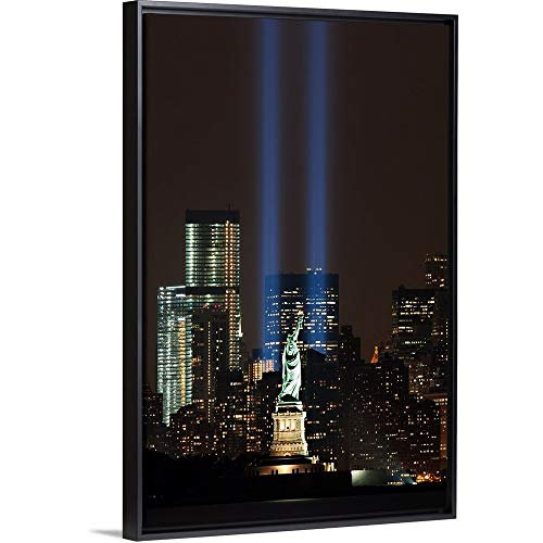 Floating Frame Premium Canvas with Black Frame Wall Art Print Entitled World Trade Center Memorial Lights and Statue of Liberty, New York City -