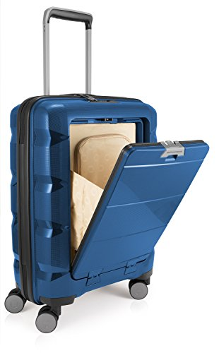 (HAUPTSTADTKOFFER BRITZ Cabin Luggage Suitcase Hardside Spinner Trolley Expandable TSA Ocean Blue)