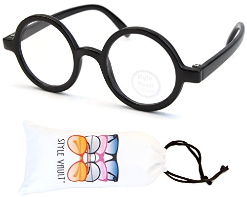KD3040 Babies infant (0~12 months) Vintage Round Sunglasses (B2389F Black-Clear Lens, (Baby Harry Potter Glasses)