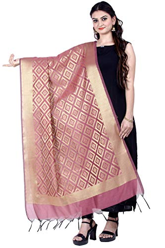 Chandrakala Women's Handwoven Pink Zari Work Banarasi Dupatta Stole Scarf,Free Size (D172PIN) (Best Fabric For Dupatta)