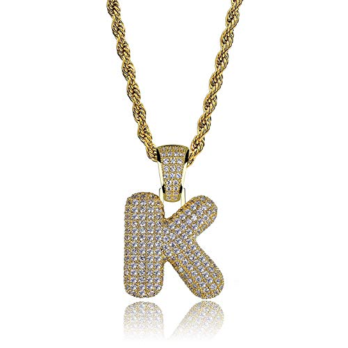 Out Initial Letter - HECHUANG Micropave Simulated Diamond Iced Out Bling Custom Bubble Letters Pendant with Rope Chain (K Gold, 24)