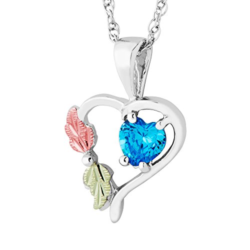 Created Blue Zircon December Birthstone Heart Pendant Necklace, Sterling Silver, 12k Green and Rose Gold Black Hills Gold Motif