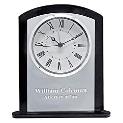 Executive Gift Shoppe | Personalized Clear & Black Crystal Square Dome Desk Clock | Customized Tabletop Quartz Clock | Free Custom Engraving | Perfect Business Gift | Presentation Box