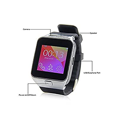 Sudroid Smart Watch Touch Screen Bluetooth Wrist Phone Mate Smartwartch Wrist Watch Bracelet with Remote Camera Pedometer Sleep Monitor SIM TF for Smartphones Cell Phones Cellphones iPhone 4/4S/5/5S/5C/6/6Plus Samsung S3/S4/S5 Note 2/3/4 HTC Sony All Andr