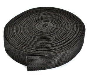 RETON 1 Inch Wide 10 Yards Black Heavy Polypro Webbing Strap