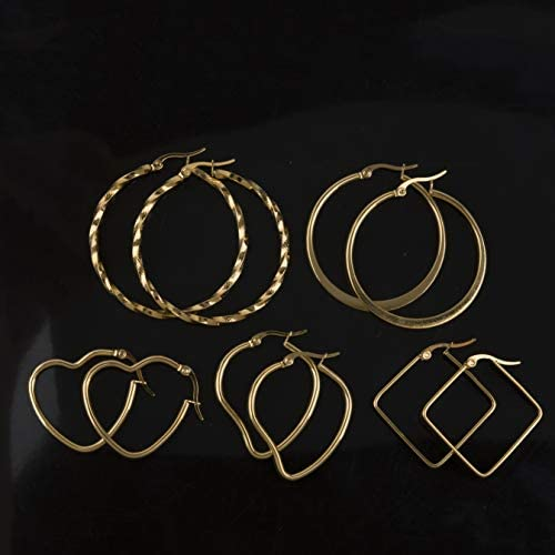 4 Pairs Houlife Stainless Steel Gold Plated Hoop Earrings Set for Women Girls 21G//0.7mm Assorted Shapes