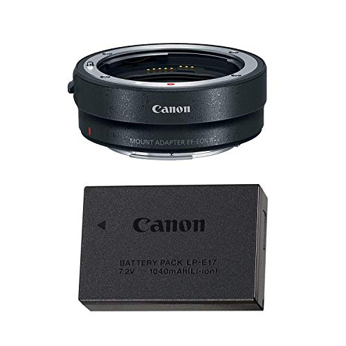 Canon Mount Adapter EF-EOS R with Canon LP-E17 Lithium-ion Battery Pack for Canon EOS RP Mirrorless DSLR Camera