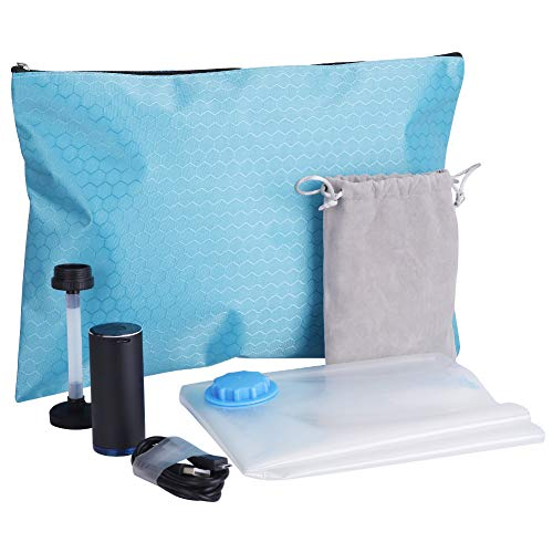 HAWATOUR Travel Vacuum Storage Bags with USB Powered Electric Pump Reusable Space Saver Bags for Clothes ()