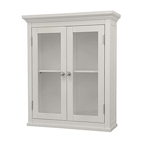 White Elegant Home Fashions Madison Collection Shelved Wall Cabinet with Glass Paneled Doors - Close Damper Pull