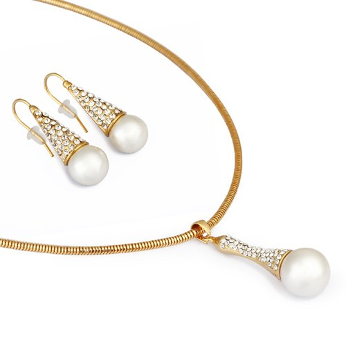 Snow Drop Christmas Pendant & Earrings Set. Large Pearl Suspended From All Swarovski Crystals Arm, 14k Gold Plated Chain with Polished Mocha Brown or Ivory Pearls - Clear, Janeo Jewels