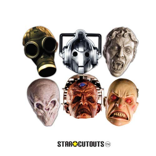 Star Cutouts SMP70 BBC Doctor Who - Monster Halloween Masks, Party 6 Pack (Cyberman, Smiler, Davros, Weeping Angel, Empty Child & Silent) Child/Silent, One Size ()