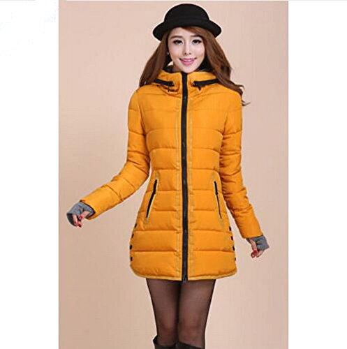 Padded New Rose Paragraph Coat Jacket O Winter Down Slim XXL Yellow S Women's Long Winter 4rRq0w4
