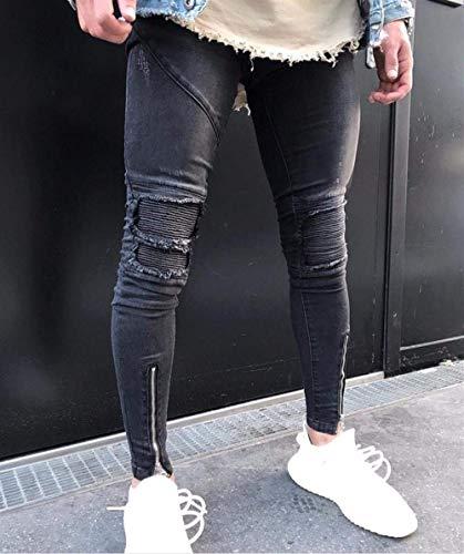Taglio Chellang Uomo Classiche Nero Effetto Attillato Dal Jeans Cerniera Ragazzi Da Con Pantaloni Casual Vintage Skinny CwXRSOq